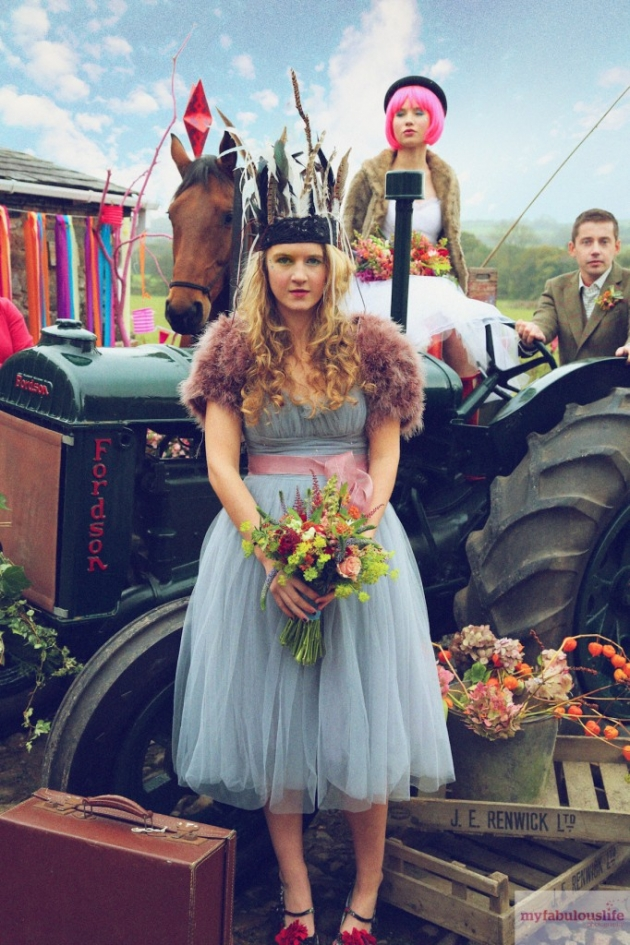 wedding festival bride with tractor photo