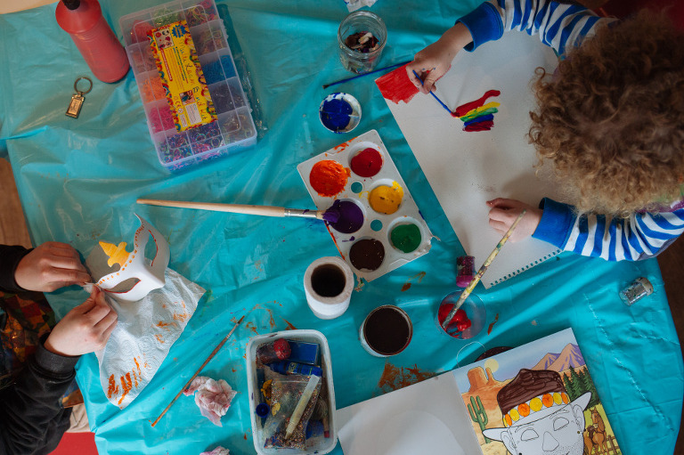 painting at home with kids
